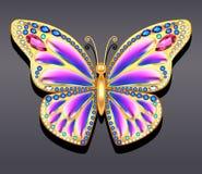 Farfalla dell'oro dei gioielli in gemme Bella decorazione Fotografia Stock