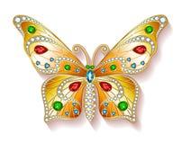 Farfalla dell'oro dei gioielli in gemme Bella decorazione O Immagini Stock