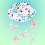 Farfalla di carta di origami della nuvola Fotografie Stock Libere da Diritti