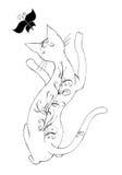 Farfalla di cattura del gatto illustrazione vettoriale