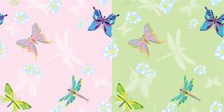 Farfalla di estate senza giunte in due varianti Immagini Stock Libere da Diritti