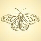 Farfalla di schizzo, fondo dell'annata di vettore Fotografia Stock Libera da Diritti