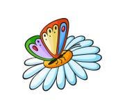 Farfalla di stile di Pop art su un autoadesivo del fiore Immagine Stock