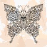 Farfalla di vettore di Zentangle, tatuaggio nello stile dei pantaloni a vita bassa ornamentale Immagine Stock Libera da Diritti