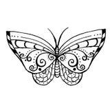 Farfalla di vettore dipinta con inchiostro Immagine Stock