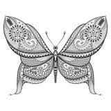 Farfalla disegnata a mano nello stile dello zentangle Patte tribale ornamentale Fotografie Stock Libere da Diritti