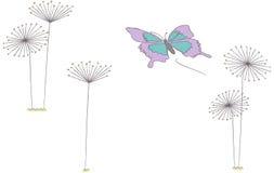 Farfalla e denti di leone Illustrazione Vettoriale