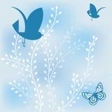 Farfalla e fogliame geometrici degli uccelli Fotografia Stock