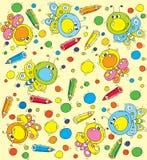 Farfalla e matite del fumetto del modello Fotografie Stock Libere da Diritti