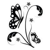 Farfalla e rotoli floreali royalty illustrazione gratis
