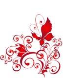 Farfalla ed ornamento del florel, elemento per il disegno Immagine Stock Libera da Diritti
