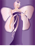 Farfalla, fairy, porpora, febbraio Fotografie Stock
