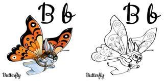 Farfalla Lettera B, pagina di coloritura di alfabeto di vettore Royalty Illustrazione gratis
