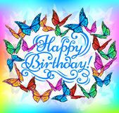 Farfalla luminosa dell'insegna di buon compleanno Immagine Stock