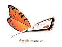 Farfalla, modello concettuale per il dispositivo di promozione Fotografie Stock