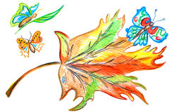 Farfalla multicolore della foglia Fotografie Stock