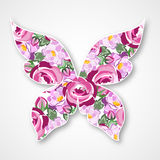 Farfalla multicolore di vettore Logo di carta della farfalla con le rose Immagini Stock