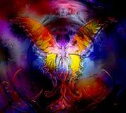 Farfalla nello spazio cosmico effetto di vetro e di progettazione grafica Fotografie Stock Libere da Diritti