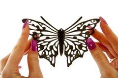 Farfalla nera di modo Immagine Stock