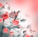 Farfalla Priorità bassa floreale Fotografie Stock Libere da Diritti