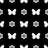 Farfalla senza cuciture in bianco e nero del modello Immagine Stock Libera da Diritti