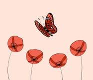 Farfalla sopra i fiori Fotografia Stock Libera da Diritti