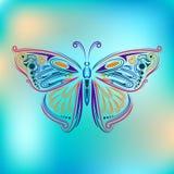 Farfalla stilizzata della mosca Concetto creativo della Boemia per gli inviti di nozze, carte, biglietti, congratulazioni, marcan Fotografie Stock Libere da Diritti