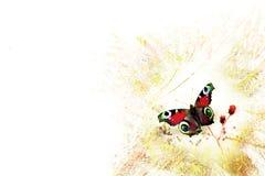 Farfalla stilizzata su una priorità bassa del grunge fotografia stock