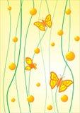 Farfalla su una priorità bassa gialla Fotografie Stock Libere da Diritti