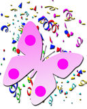 Farfalla sui cenni storici dei coriandoli. Modello perfetto della cartolina d'auguri fotografia stock