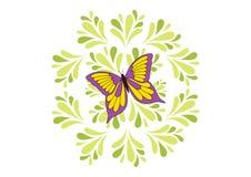 Farfalla sui fogli verdi Immagini Stock Libere da Diritti