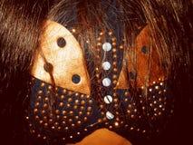 Farfalla sul retro di una donna con capelli sciolti Immagine Stock