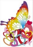 Farfalla sulle cuore-figure Fotografie Stock