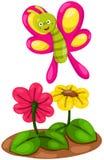 Farfalla sveglia del fumetto con i fiori Fotografia Stock