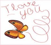 Farfalla ti amo Immagini Stock
