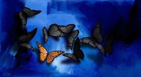 Farfalla unica sul blu Fotografie Stock Libere da Diritti