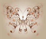 Farfalla variopinta con gli ornamenti floreali Fotografia Stock