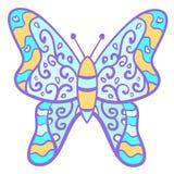 Farfalla variopinta divertente con i riccioli. Fotografia Stock