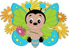 Farfalla variopinta felice Fotografia Stock