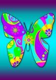 Farfalla viola blu Funky Fotografia Stock