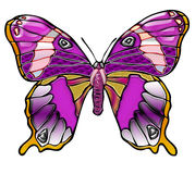 Farfalla viola luminosa Immagini Stock Libere da Diritti