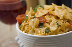 Farfalle And Wine Royalty Free Stock Images