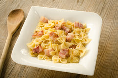 Farfalle with bacon Royalty Free Stock Photography