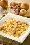 Farfalle with bacon Royalty Free Stock Images