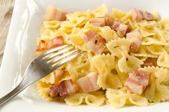 Farfalle with bacon Royalty Free Stock Photos