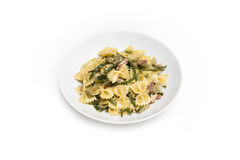 Farfalle with bacon and asparagus Royalty Free Stock Images