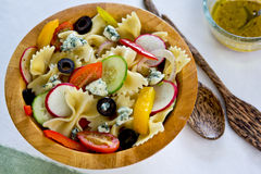 Farfalle with blue cheese salad Stock Photography