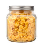 Farfalle Bow Tie Pasta in a Glass Jar Stock Photos