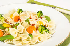 Farfalle with Carrots, Beans, Broccoli and Sausage Stock Image