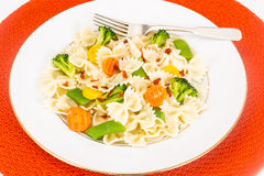 Farfalle with Carrots, Beans, Broccoli and Sausage Royalty Free Stock Photo